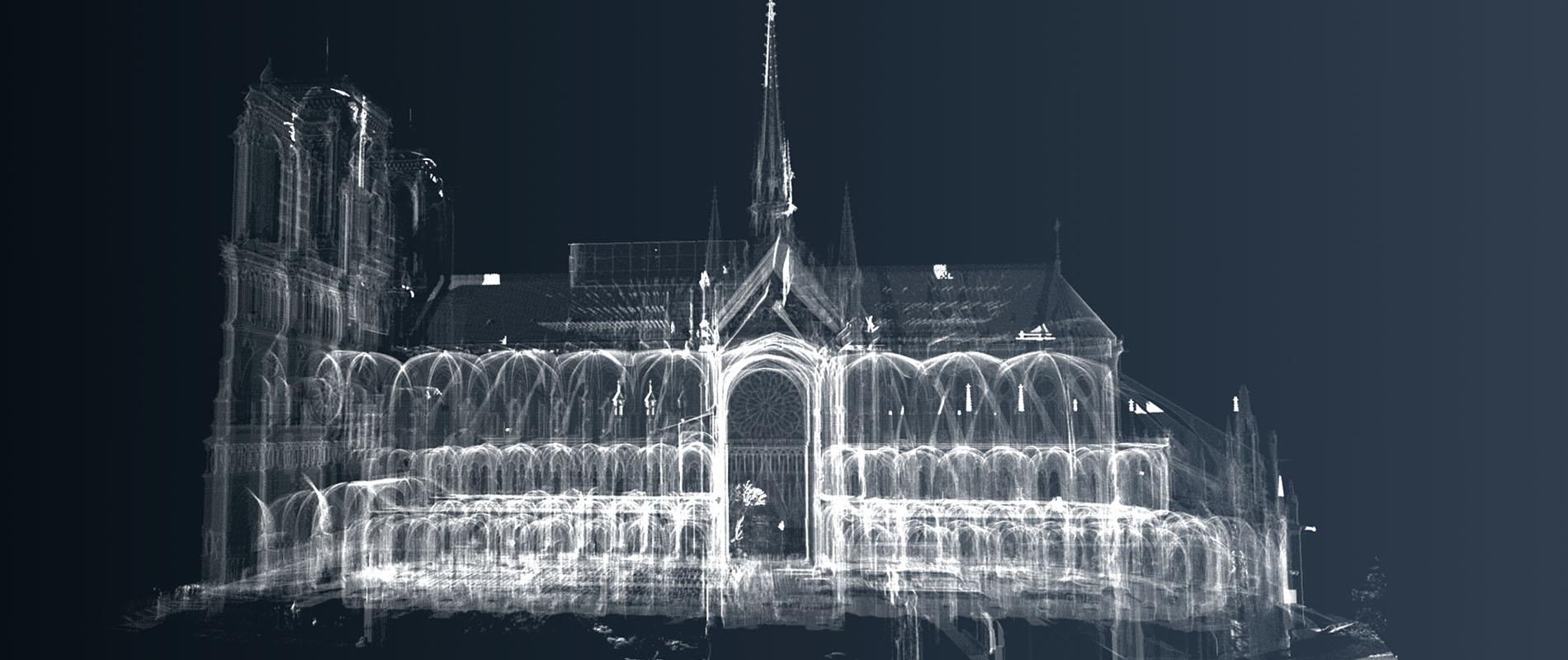 Visuel radiographique de la cathédrale de Notre Dame de Paris